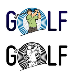 font golf with golf player action cartoon sport gr vector image