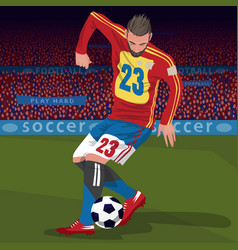 Football player with ball in stadium vector