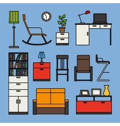 Furniture and home accessories icons vector image