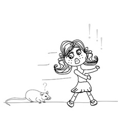 girl scared of a mouse vector image
