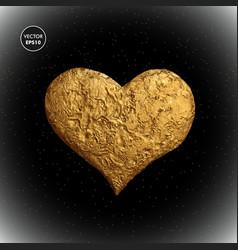 Gold heart golden love vector