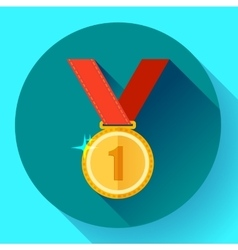 Gold medal icon - first place Flat design style vector image