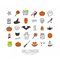 Halloween flat icons color vector
