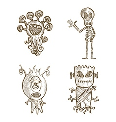 Halloween isolated sketch style creatures vector