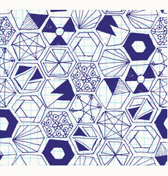 Hand drawn doodle hexagons seamless pattern vector