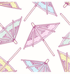 hand drawn seamless pattern - cocktail umbrellas vector image