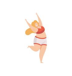 Happy plump woman in underwear body positive vector