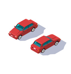 isometric 3d four-seater red classic sedan car vector image