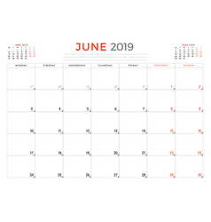 june 2019 calendar planner stationery design vector image