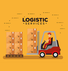 Logistic services with forklift and worker vector
