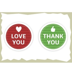 love you and thank you stickers vector image