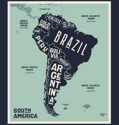 Map south america poster south america vector