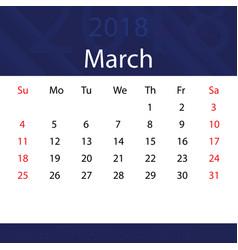 march 2018 calendar popular blue premium for vector image