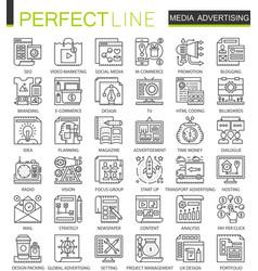 media advertising outline mini concept symbols vector image