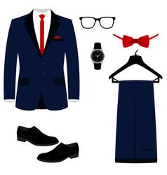 Mens accessories flat design vector