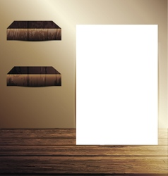 mock up poster in the room with wooden floor vector image