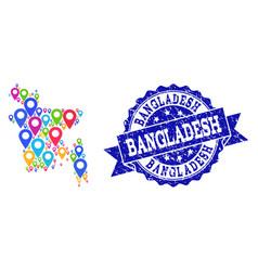 Mosaic map of bangladesh with map pins and vector
