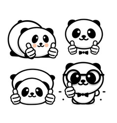ok logo funny little cute panda showing gesture vector image