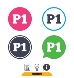 Parking first floor icon Car parking P1 symbol vector