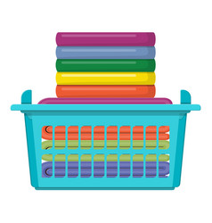 plastic basket with bright towels isolated on vector image
