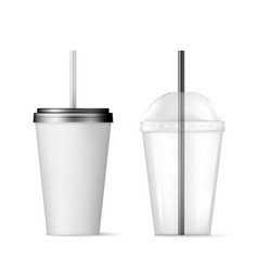 plastic transparent disposable cup with black vector image