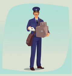 postman standing in front face with parcels vector image