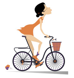 pretty young woman rides a bike isolated vector image