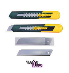 Realistic yellow construction utility knife with vector