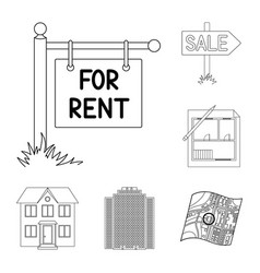 Realtor agency outline icons in set collection vector