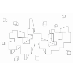 Rectangular shape in one point perspective vector image