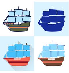 sailboat icon set in flat and line styles vector image
