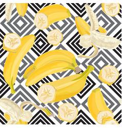 seamless hand drawn tropical pattern with banana vector image