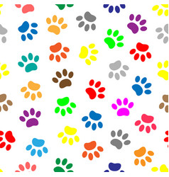 Seamless pattern with colored paws vector