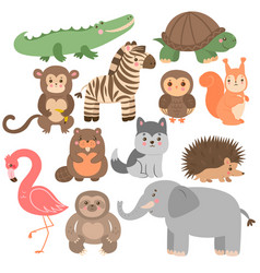 Set cute animals in cartoon style isolated vector