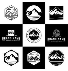 Set mountain logo vector