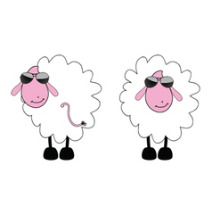 sheep cartoon with sunglass vector image