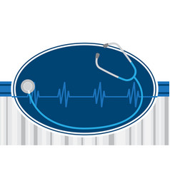 Stethoscope and hearbeat healthcare concept vector
