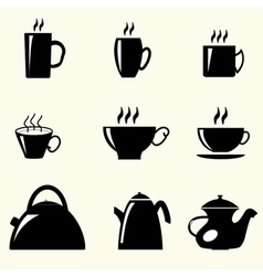 Teacups and teapots vector