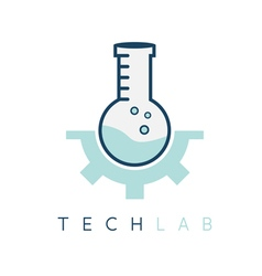 technology lab tube with gear design template vector image