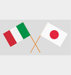 The crossed japan and italy flags vector