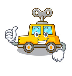 Thumbs up cartoon clockwork toy car in table vector
