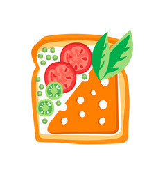 Toasted bread slice with butter cheese tomatoes vector
