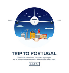Travel to portugal skyline flat vector