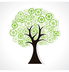 tree forming by green recycle icons vector image