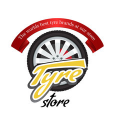 tyre store or repair logo with red ribbon modern vector image