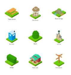 urban greenery icons set isometric style vector image