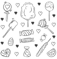 various candy doodle style hand draw vector image