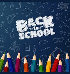 welcome back to school background with doodle vector image
