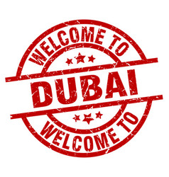 Welcome to dubai red stamp vector