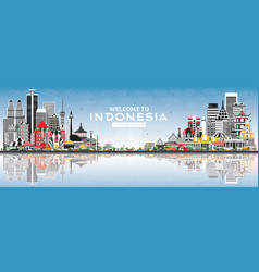 Welcome to indonesia skyline with gray buildings vector